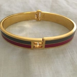 Fendi 'Fendinista' Enamel Gold Two Toned Bracelet